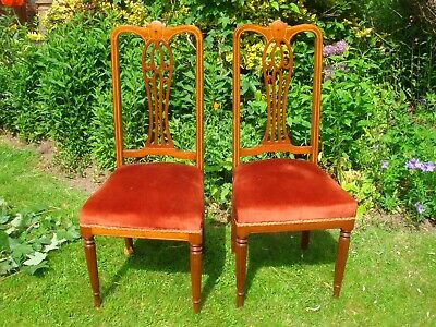 a pair genuine antique chairs ? georgian reeded legs dining shabby chic