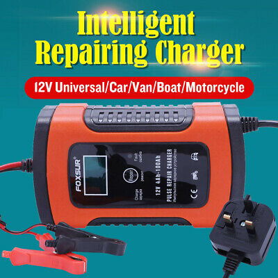 Smart Car Battery Charger 12V Automobile Motorcycle LCD Battery Repair UK Plug