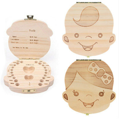 Baby Kids Wooden Fallen Tooth Storage Box Boy & Girl Save Milk Teeth Organizer