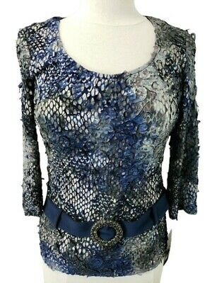 c561a9e7 Frank Lyman Womens Blouse Sz 6 SM 3/4 Sleeve Blue Gray Pewter Belted Knit