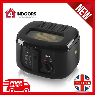 Swan SD6080BLKN 2.5Ltr Square Deep Fat Fryer Cool Touch Handle Black - Brand New