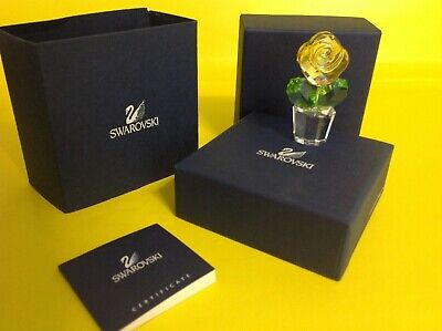 NEW BOXED Swarovski Crystal Happy Flowers Yellow Rose 9400 000 083 /  855895