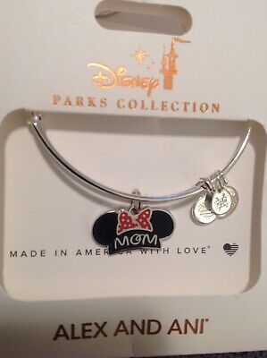 Disney Alex and Ani Minnie Mouse MOM Ear Hat Mother's Day Silver Bracelet NWT
