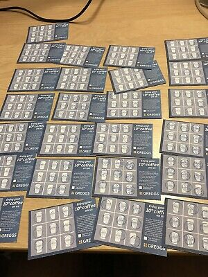 25 Greggs Collector Cards All Stamped With Blue Stamp.coffee Vouchers