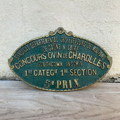 French Vintage Agriculture Plaque Trophy Award Animals Prize Sign 1006198