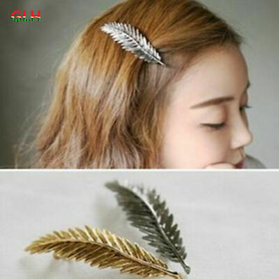 Feather Leaf Hair Clip Vintage Bridal Leaves Pin Hippy shabby chic Wedding