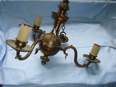 genuine antique vintage very heavy solid brass light fitting chandelier 3 arm