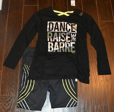 NEW Justice Active Girls Dance Shirt Yoga Stretch Leggings Pants Outfit Set NWT