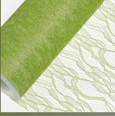 LIME GREEN LACE NET ON A ROLL150mm x 10M wedding venue chair sash craft party