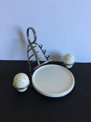 Hukin & Heath, Silver Plate Vertical Toast Rack with China Parts.