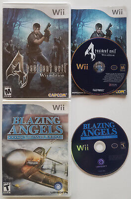 Nintendo Wii Video Games Resident Evil 4 & Blazing Angels Squadrons Of Wwii @@@@