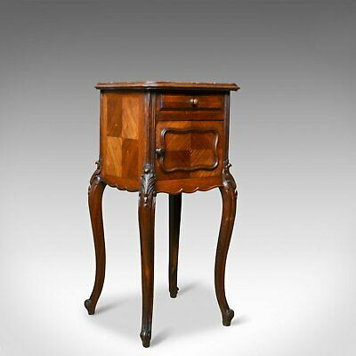French Antique Bedside Cabinet, Victorian, Walnut, Marble Top Pot Cupboard c1880