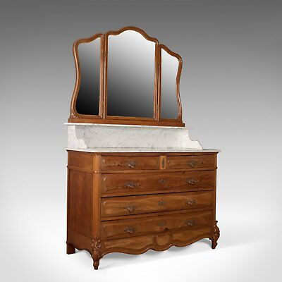 Antique Vanity Chest of Drawers, French, Marble Top, Mirror Back, Mahogany c1880