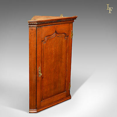 Antique Hanging Corner Cabinet, Georgian English Oak Wall Cupboard, c.1780