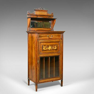 Antique Music Cabinet, Rosewood, English, Victorian, Mirror Back, Circa 1880