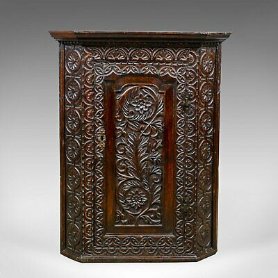 Antique Corner Cabinet, English, Georgian, Carved, Oak, Hanging Cupboard c.1760