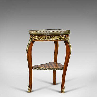 French, Antique, Side Table, Two Tier, Birch, Ormolu, Marble Top, circa 1900