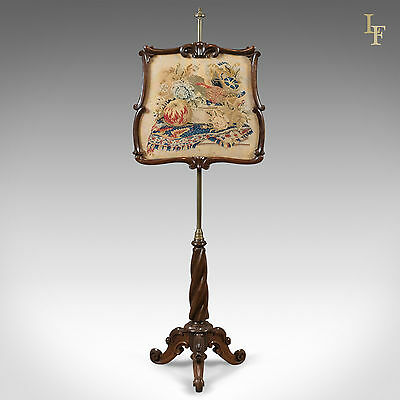 Antique, Pole Screen, Early Victorian, Rosewood, English, Needlepoint, Tapestry