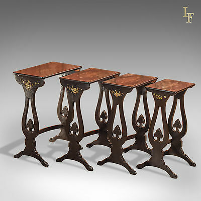 Antique Nest of Tables, Victorian Quartetto, Ebonised, Japanned, Oriental c.1880