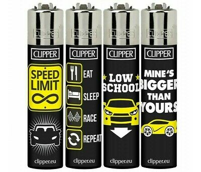 4 x GENUINE CLIPPER LIGHTERS TUNING SPEED LIMIT  DESIGN FLINT  REFILLABLE NEW