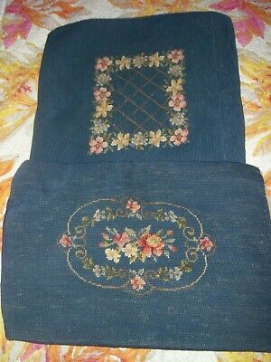 2 Vtg Antique Preworked Completed Needlepoint Canvas Blue Floral Pillow Covers