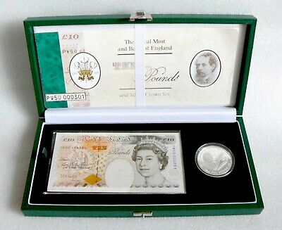 """1998 Royal Mint & Bank of England Silver £5 Coin and Special """"PW50"""" £10 Banknote"""