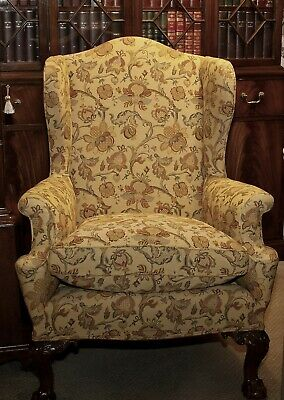 Antique Wing Back Armchair CHIPPENDALE style Ball And Claw Feet William Morris