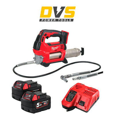 Milwaukee M18GG-0 18v Grease Gun 2 x 5Ah Batteries M18B5, Charger