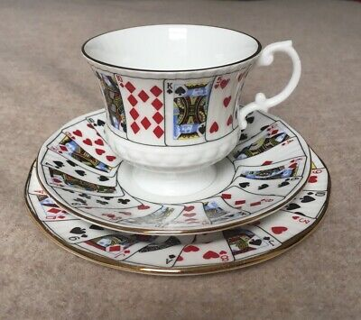 Queen's Bone China Cut For Coffee Trio Footed Teacup Saucer Plate #1