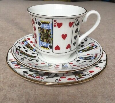 Queen's Bone China Cut For Coffee Trio Teacup Saucer Plate #2