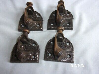 4 Vtg Antique Sash Window Locks Pat 1876 Brass And Cast Rare Swing Up Arms Lock
