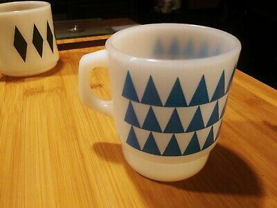 "Fire-King Milk Glass Mug Blue Triangles 3.5"" Vintage Anchor Hocking Oven-Proof"
