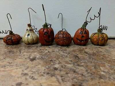 6 SALEM COLLECTION Resin Hand Painted Halloween Ornaments Decorations