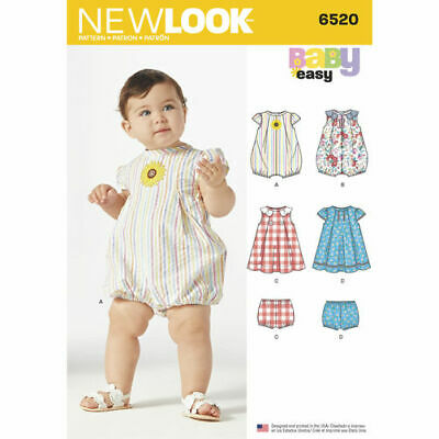 New Look Sewing Pattern 6520 Babies Size NB - L Rompers and Dresses with Panties