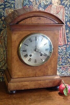 Good Antique Inlaid Wooden * Lenzkirch * Quarter Strike Movement Bracket Clock