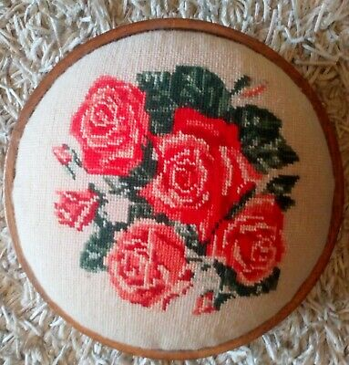 Needlework footstool possibly Victorian with makers mark