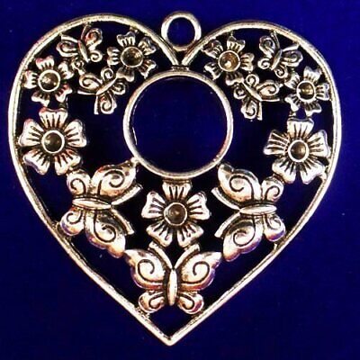 Carved Tibetan silver Flower Hollowing out Heart Pendant Bead 51x51x3mm L79836