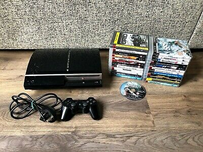 Sony PlayStation 3 Black 40GB Console & Game Bundle- Working & Tested- x25 Games
