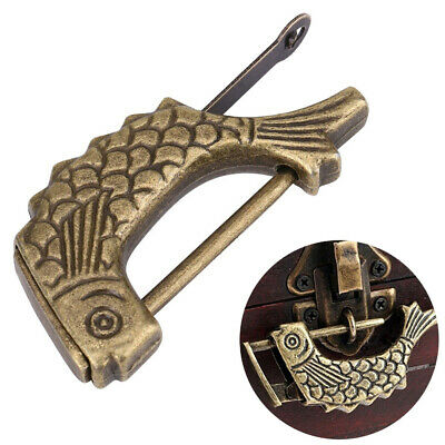 BL_ Antique Fish Shaped Metal Chinese Padlock with Key for DrawerJewelry Box A