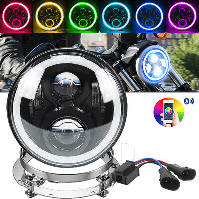 7inch RGB LED Halo Headlights With Mount Ring for Harley Street Glide/ Road King