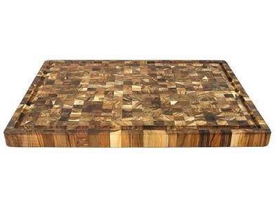 Proteak Teak End Grain Board With Handles and Juice Groove 24 x 18 x 1.5 - NEW