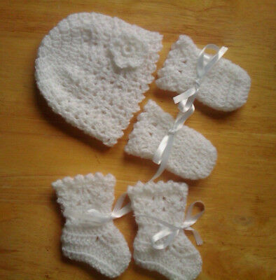 Handmade Hand Crocheted Baby Girl Picot Hat/Mitts/Bootees 100% Acrylic Var cols