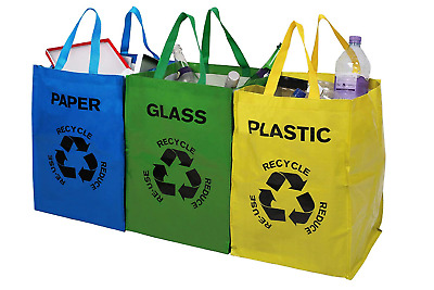 Set of 3 Recycling Bags Colour Coded Plastic Glass Paper Recycle Storage Bin