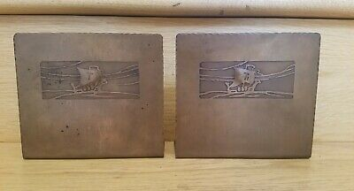 Craftsman Studios Etched Hammered Copper Bookends Arts & Crafts Stickley Era