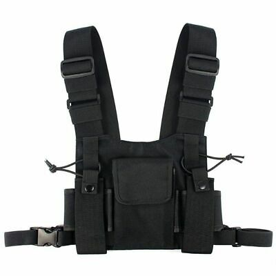 3X(Radios Pocket Radio Chest Harness Chest Front Pack Pouch Holster Vest Rig 5I