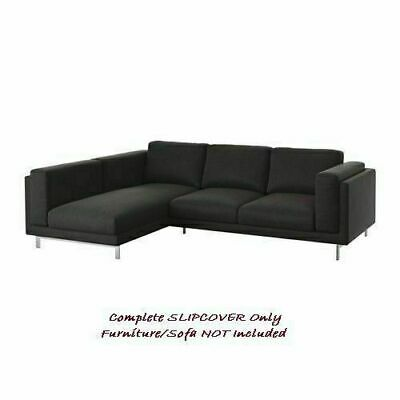 NOCKEBY COVER for Three-Seat Sofa with Chaise, LEFT ~ Teno Dark-Grey: 202.838.28