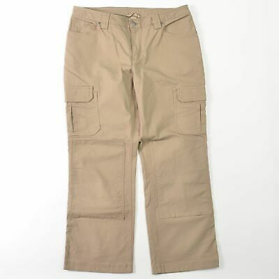 2d65002541f08 Duluth Trading Co Fire Hose Cargo Canvas Work Pants Beige Stretch Womens  12X29