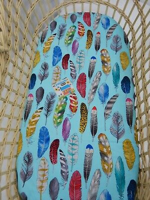 Bassinet Sheet Fitted Blue Feathers 100% Cotton  FITS STANDARD BASSINET