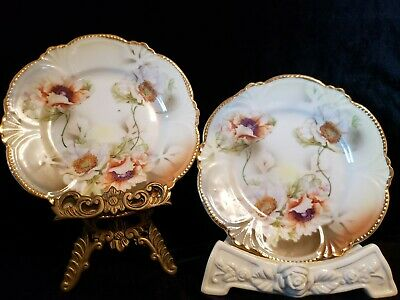 """Vintage Porcelain Germany Scalloped Embossed Hand Painted Gold 6"""" Plates 2"""