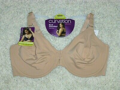 00b7d8b6fd180 NWT CURVATION 44D Latte Back Smoother Full Coverage Front Close U/W Bra  5304643